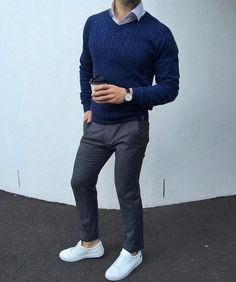 Blue sweater, gray pants and white lacoste sneaker by @the.cardinal.man [ www.RoyalFashionist.com ]