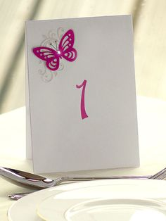 Butterfly & Floral folded stand alone table number