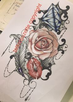 feather rose lace tattoo design