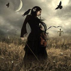 gothic violin woman in field ravens, clouds, moon and scarecrow
