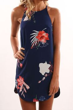 Random Floral Print Sleeveless Dress in Navy