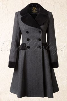 Bunny - 50s Amazon Swing Coat in Grey and Black
