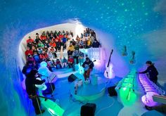 Located in the Sangre de Cristo mountains of northern New Mexico at the center of the Enchanted Circle in Taos Ski Valley is The Celestial Sphere — a concert and performance hall made of ice.