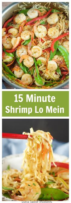 This tasty 15 Minute Shrimp Lo Mein recipe is super easy to make and requires few ingredients. The perfect quick weeknight dinner with an Asian twist. More Asian recipes at livingsweetmoments.com via @Livingsmoments