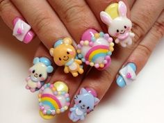 Kawaii Decoden Nails. The rainbow heart cabochons are so cute! ^-^