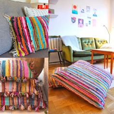 My dollar store has these recycled rugs for a few bucks!  Gotta try out making my own floor cushions for the tween's room.  The image is from GypsyYaya    Rag Rug Recycle