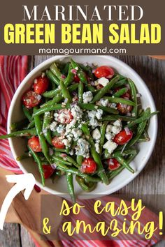 Cold green bean salad is an absolute hit in the summer side dish department! Fresh beans are tossed with tomatoes, red onions, blue cheese, and drizzled with a quick and easy homemade viniagrette dressing. Place it in the fridge to marinate and serve!