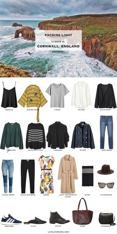 What to Pack for Cornwall England Packing Light List. Packing light for a vacation. Travel Packing Outfits, Packing Clothes, Packing List For Travel, Packing Tips, Travel Capsule, Capsule Wardrobe, Travel Wardrobe, Mein Style, Holiday Wardrobe