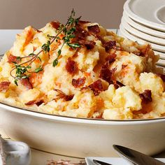 Golden Mashed Potatoes with Fried Onions and Bacon | G-Free Foodie #GlutenFree