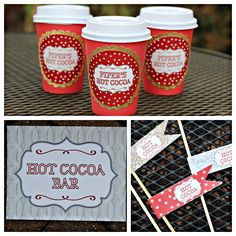 Winter ONEderland / Wonderland birthday party Hot Chocolate / Cocoa Bar kit. Boutique 3 piece set. Red, Gold, Silver. Customizable by CharmingTouchParties on Etsy