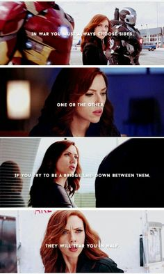 I loved Natasha in Civil War. Out of all the Avengers, she was acting mature. Marvel Fan, Marvel Dc Comics, Marvel Avengers, Black Widow Scarlett, Black Widow Natasha, Dc Movies, Marvel Movies, Marvel Quotes, Loki Quotes