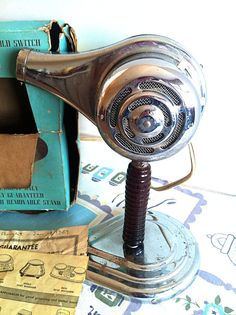 Mid Century 1950s Blow Dryer Chrome with by NonabelleVintage. My mom had one of these. It was really heavy and got really hot!