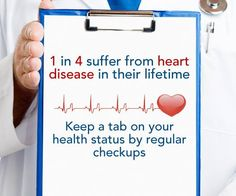 1 in 4 suffer from Heart Disease in their lifetime. Know your health current and future by regular checkups....