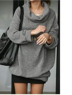 Stylish and Loose Stack Collar Design Fleeces, this +leggings and I would be the happiest girl ever.