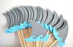 12 Shark Cupcake Toppers / Shark Birthday / Shark Fin Cake Toppers / Shark Party /Shark Baby Shower / First Birthday / Baby Shark Shark Birthday Cakes, Birthday Cupcakes, Birthday Cake Toppers, Boy Birthday, Cupcake Toppers, Birthday Ideas, Birthday Sayings, Birthday Images, Birthday Greetings