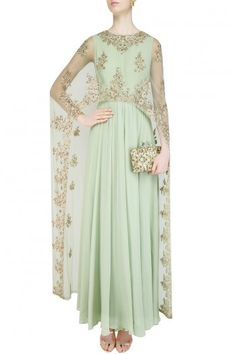 Aneesh Agarwaal presents Celedon green floral embroidered cape anarkali set available only at Pernia's Pop Up Shop. Indian Gowns, Indian Attire, Pakistani Dresses, Indian Outfits, Designer Gowns, Indian Designer Wear, Salwar Kameez, Cape Dress, Traditional Fashion