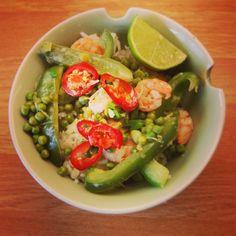 Prawn & pea thai green curry