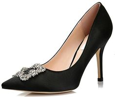 3f6ae940e510 Littleboutique Womens Pointed Toe Evening Pumps Rhinestones Satin Stiletto  Wedding Shoes Prom Heels black 7