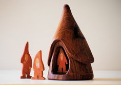 Vintage Gnome House Handmade Folk Art Wood Waldorf Toys Eco Friendly Wooden…