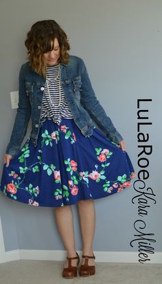Lularoe Madison floral Skirt with stripes Irma tunic and jean jacket. Danskos  Fall Fashion Style Trends: print mixing  Shop here: https://www.facebook.com/groups/LularoeKaraMiller/