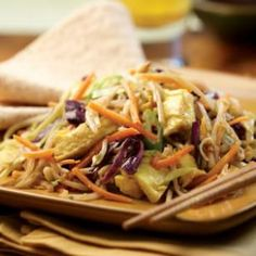 This vegetarian version of the classic Chinese stir-fry, Moo Shu, uses already-shredded vegetables to cut down on the prep time.