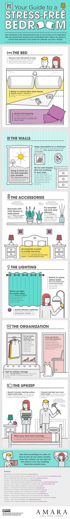 You want your bedroom to be a relaxing retreat that you return to at the end of the day that encourages deep, restful sleep, and shields you from the blinding sun. We've talked about how to do this before, but this graphic wraps a few of those tips into a simple, easy to follow package.
