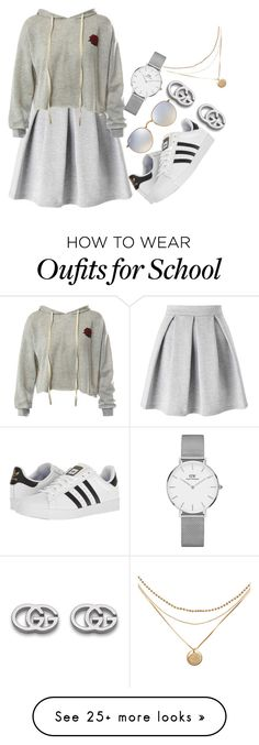 """""""First Day of High School Idea"""" by bolu on Polyvore featuring Miss Selfridge, Sans Souci, adidas, Ray-Ban, Daniel Wellington and Gucci"""