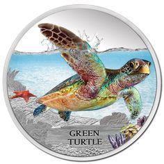 Tuvalu 2014 $1 Green Turtle 1oz Silver Proof