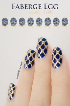 1. Apply 2 coats of dark blue polish. Let it dry.  2. Use gold striping tape to create a crisscross pattern on each nail.  3. Position the studs and secure them with a clear top coat.  4. Apply 2-3 layers of fast drying top coat to finish your manicure.    Used: Revlon Top Speed 730 Royal, gold striping tape and studs, Essie To Dry For top coat.