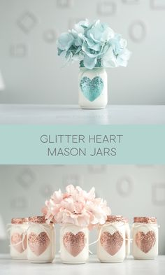 Mason jars with glitter hearts. Use for wedding vases or Valentines day decor. Mason Jar Art, Glitter Mason Jars, Mason Jar Vases, Mason Jar Gifts, Diy Christmas Mason Jars, Mason Jar Painting, Glitter Vases, Jar Crafts, Bottle Crafts