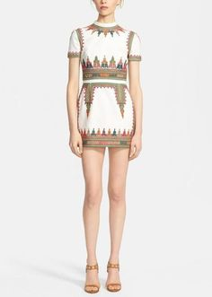 Cute dress for a lunch date - Embellished cotton canvas dress by Valentino.