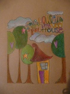 Our house.... colored pencil on brown paper bag
