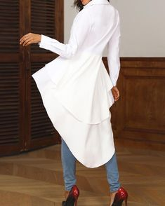 Shop Layered Flounced Dip Hem Blouse right now, get great deals at pickmyboutique Trend Fashion, Look Fashion, Fashion 2020, Hijab Fashion, Fashion Dresses, Casual Tops, Casual Shirts, Casual Wear, Casual Outfits