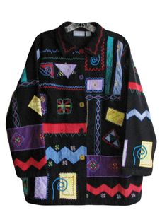 Liz Me 0X Jacket Appliqued Embroidered Cotton Black Colorful & Wearable Artsy