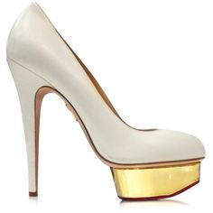 Charlotte Olympia Shoes Dolly Off White Pump w/Gold Platform (520 AUD) ❤ liked on Polyvore featuring shoes, pumps, heels, off white, champagne pumps, gold high heel shoes, gold platform pumps, metallic gold pumps and high heel shoes