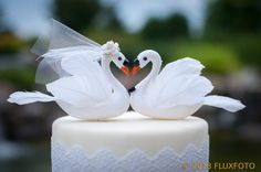 White Swan Cake Topper Unique Elegant Bride and by beckykazana, $37.00