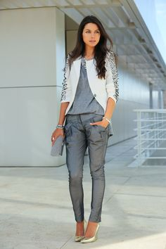 metallic silver pants with gray tee and blazer
