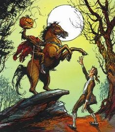 The Headless Horseman of Sleepy Hollow A Live Radio Play - Ensemble Stage, Blowing Rock, October 26 ONLY Halloween Stories, Halloween Art, Vintage Halloween, Halloween Witches, Halloween Stuff, Halloween Prints, Vintage Holiday, Art Et Illustration, Illustrations