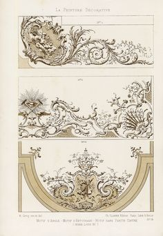 The Prints Collector :: Antique Print-DECORATION-ORNAMENT-LOUIS XV STYLE-DESIGN-PLATE 34-Gruz-1860