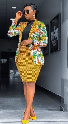 African Print Blazer Jacket with Mini Skirt - Ankara Print - African Dress - Two Piece Outfit - Hand African Print Clothing, African Shirts, African Print Fashion, Africa Fashion, Modern African Fashion, Ghana Fashion, Short African Dresses, Latest African Fashion Dresses, Latest Ankara Styles