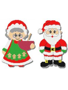 Plastic Canvas - Holiday & Seasonal Patterns - Christmas Patterns - Mr. & Mrs. Claus