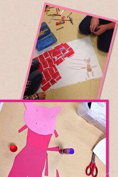 Making our Three Little Pigs Beginning, Middle, End murals.