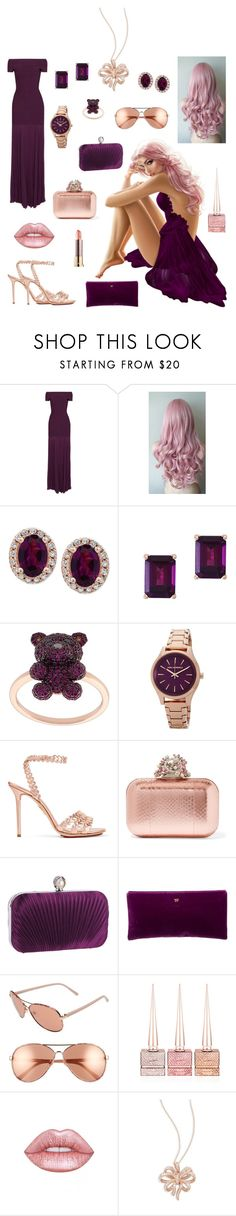 """""""Aubergine & Rose Gold 💜🌸💜"""" by melissa-kyhlenso ❤ liked on Polyvore featuring Hervé Léger, Effy Jewelry, Khai Khai, Karl Lagerfeld, Charlotte Olympia, Jimmy Choo, WithChic, Tom Ford, Diane Von Furstenberg and Christian Louboutin"""