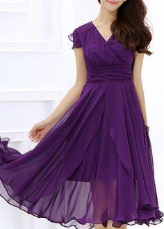 Purple Cap Sleeve Chiffon Layered Midi Dress