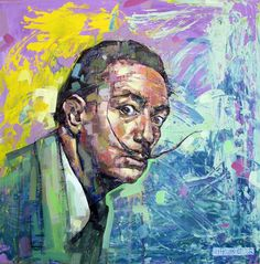 Salvador Dalí portrait | character design | original artwork painted on canvas 80 x 80 cm. mixed technique | Salvador Dalí, was a prominent Spanish surrealist painter born in Figueres, Catalonia, Spain. His best-known work was, the Persistence of Memory