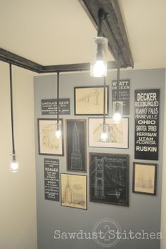 Awesome rustic DIY light fixture for less than $29!  I like the frame: fake window on the ceiling!