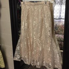 Vintage Lace Boho Skirt Light peach with cream lace overlay. Vintage size 12 so it fits like a 10. 29 inches long. Trumpet skirt. Awesome style, attention getter. Very feminine. Skirts Maxi