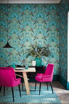 Brodsworth Wallpaper in Empress from London Wallpapers V by Little Greene. A bird print wallpaper with a floral motif in green, pink and goldl. Pink Dining Rooms, Dining Room Chairs, Lounge Chairs, Luxury Wallpaper, Wallpaper Decor, Wallpaper Designs, Paint Wallpaper, Latest Wallpaper, Bird Wallpaper