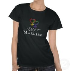 Just married Lesbian Pride Wedding design with overlapping rainbow colored Female gender symbols. Great for LGBT Marriage gifts.	 	 #Lesbian	#justmarried	#liveloudgraphics