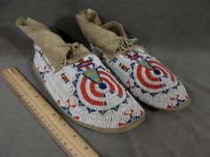 American Sioux Indian Beaded Moccasins -*-*-383+